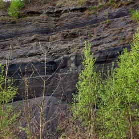 Wand aus Vulkanasche am Wegesrand