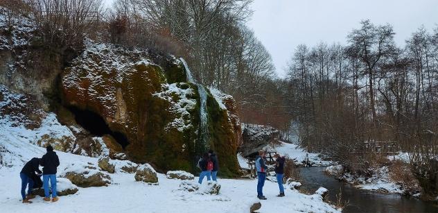 """Der """"Dreimühen-Wasserfall""""."""